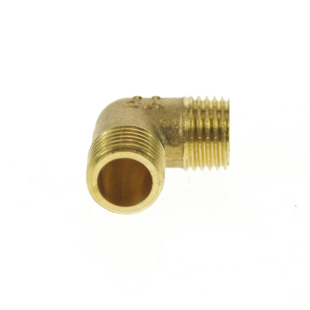 """2PCS 1/4"""" BSPP Connection 90Degree Elbow Male Pipe Brass Adapter Coupler"""