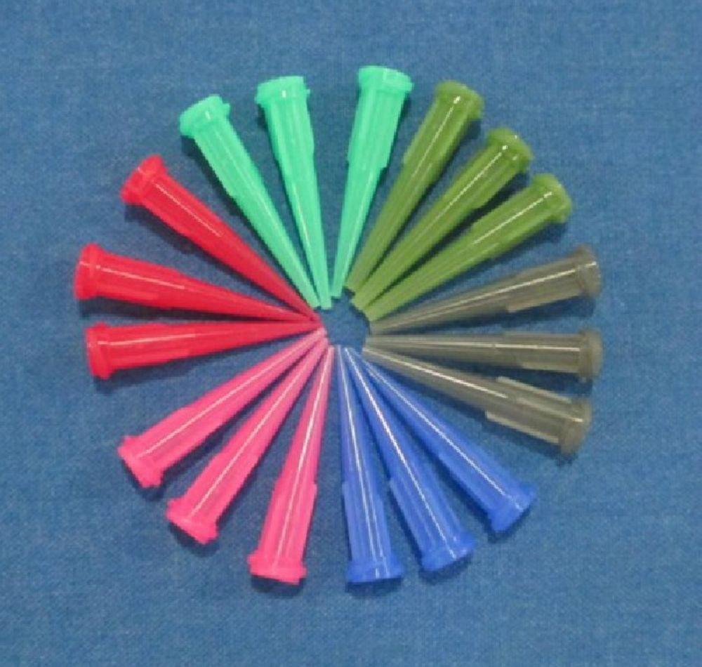 300/pk Plastic Dispenser Needle 6 Colors Tapered Tip Each Color 50 pcs