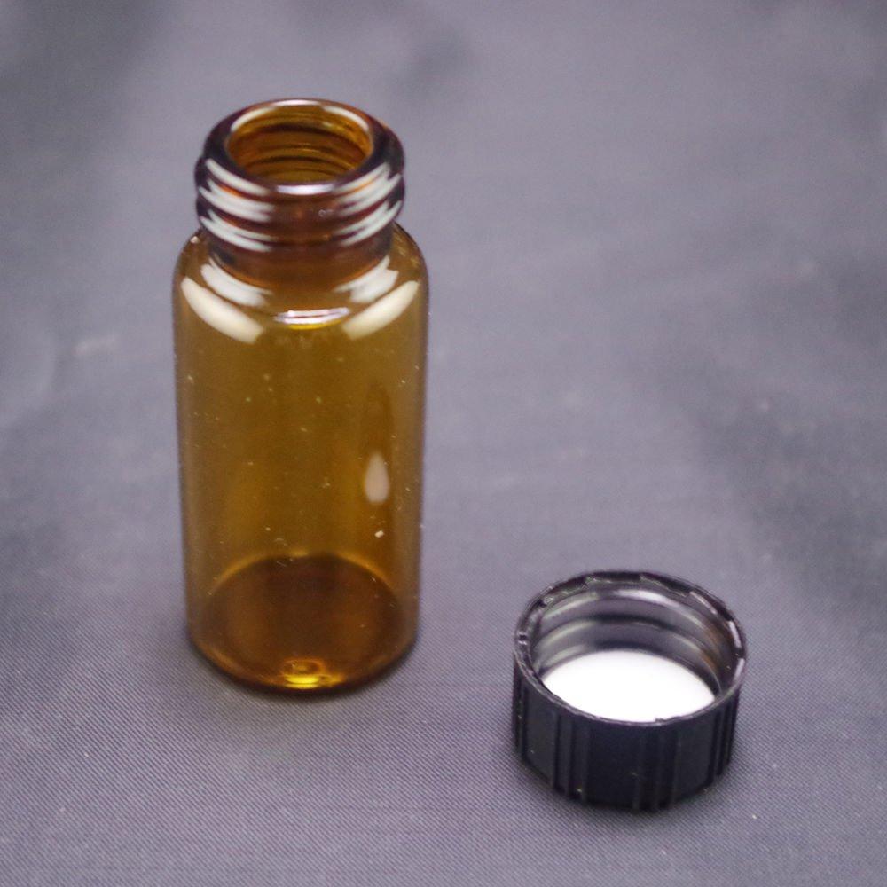 lot4 10ml Sample bottle brown glass screw top