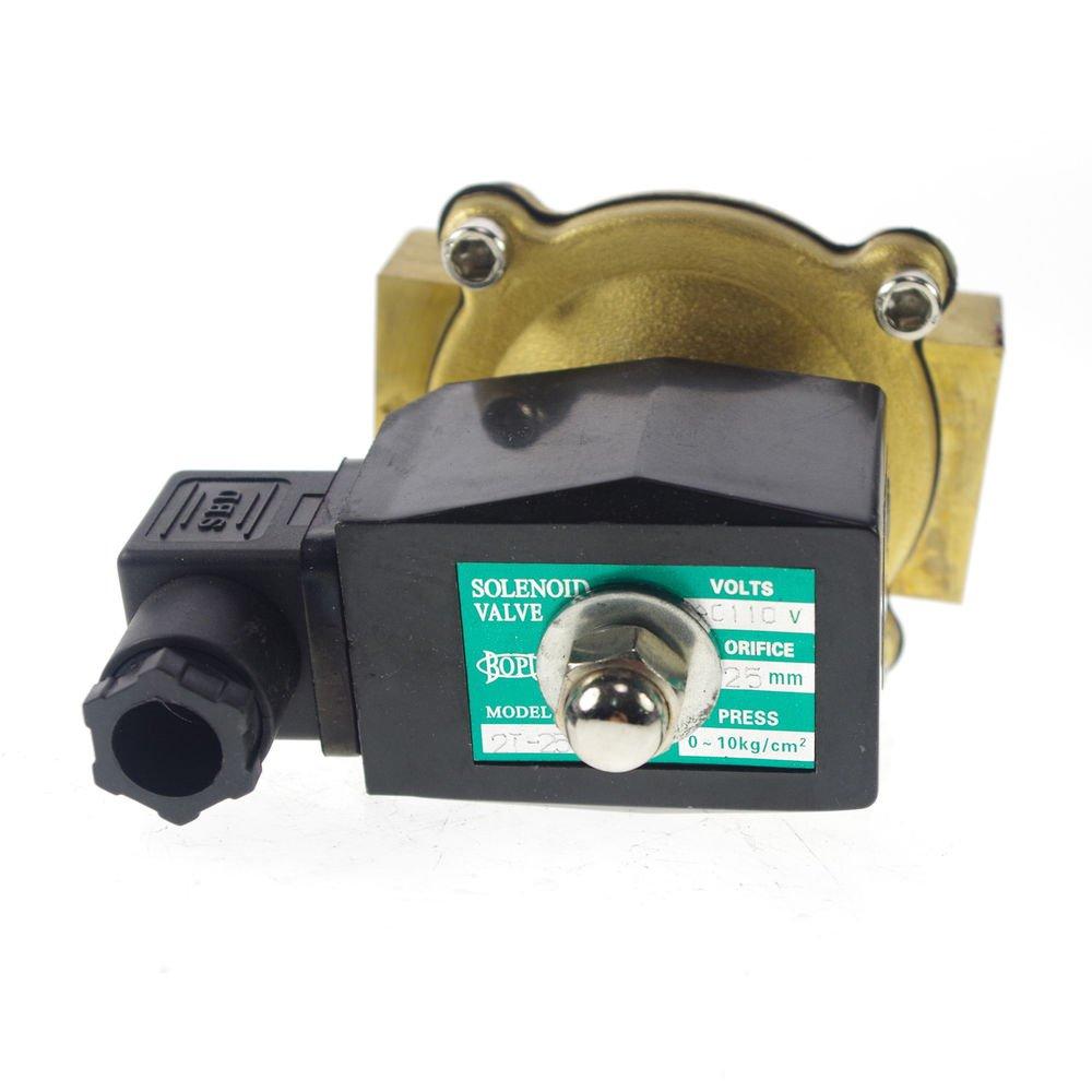"Methane Gas Fuel Propane 2 Ways NC 110VAC Solenoid Valve 1"" BSPP Connection"