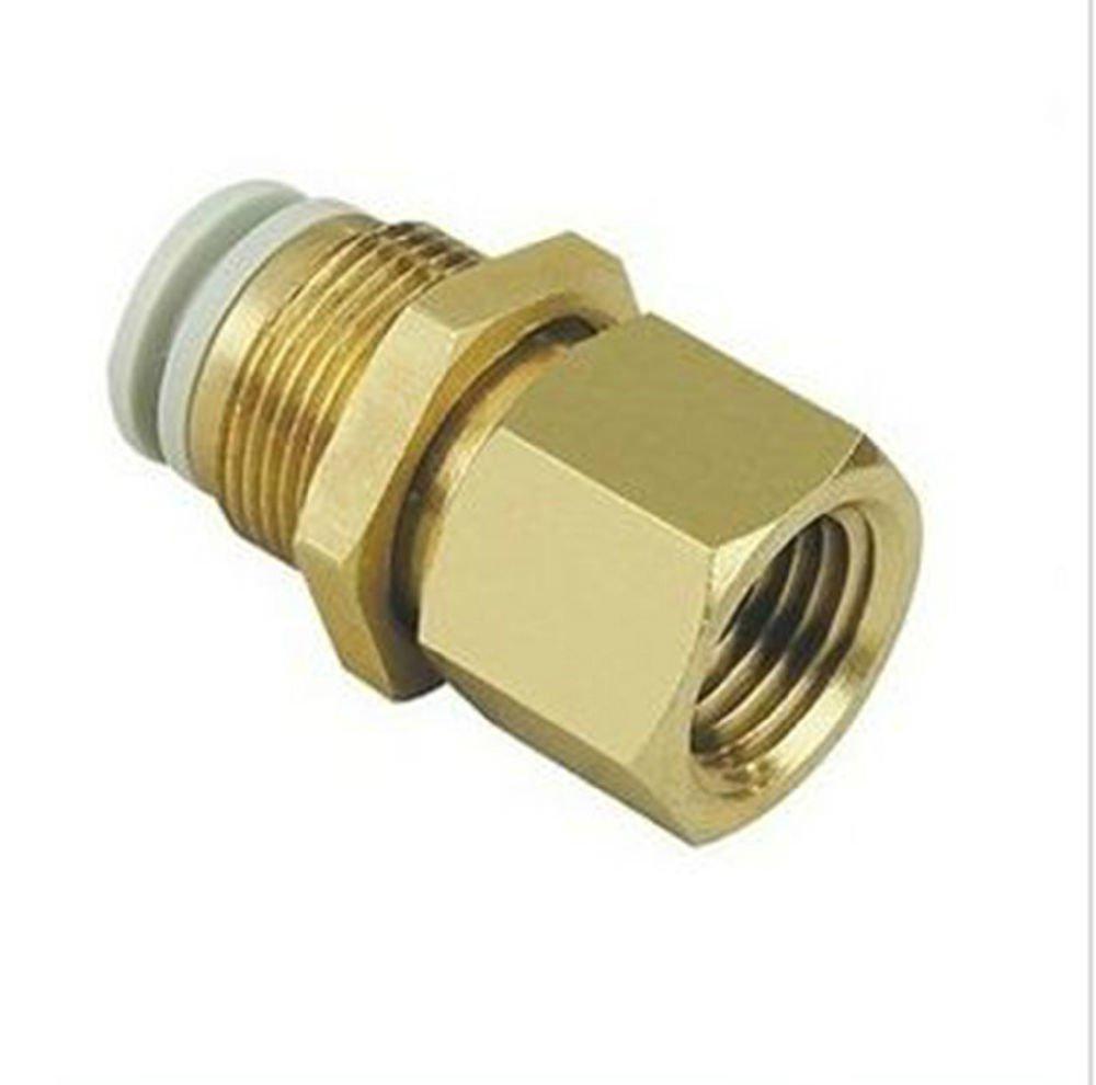 """(5) Connectors Brass Bulkhead 4mm Tube-1/4"""" Female BSPP Replace SMC KQ2E04-02"""