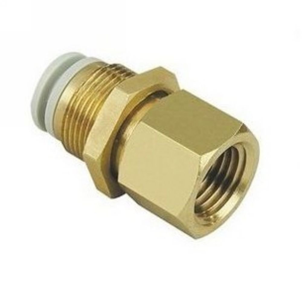 "(5) Connectors Brass Bulkhead 8mm Tube-3/8"" Female BSPP Replace SMC KQ2E08-03"