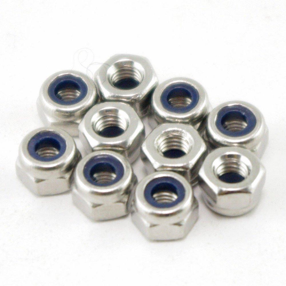 (50) Metric M4 304 Stainless Steel Hex Head Nylon Insert Lock Jam Stop Nuts