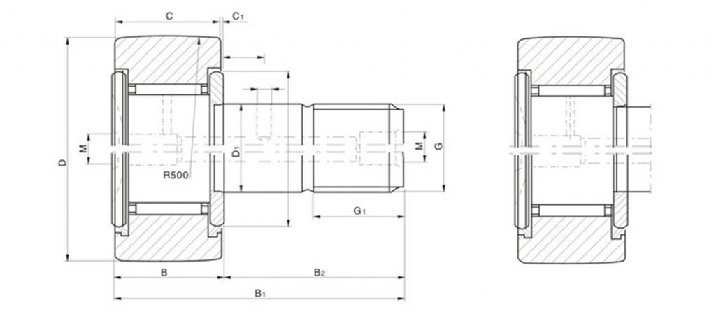 (2)Stud Type Track/Needle Roller Wheel And Pin Bearing CF Bearing Metric Thread