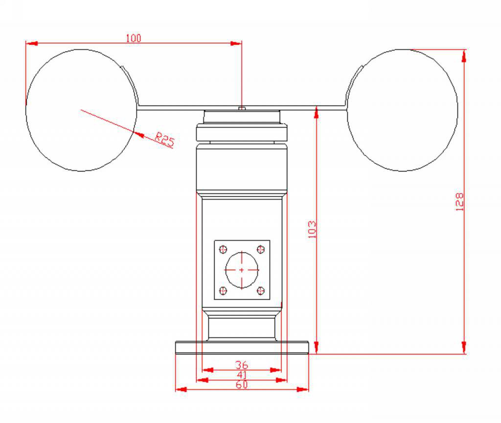 Wind Speed Sensor Anemometer Three Cups Aluminium Alloyed Current output