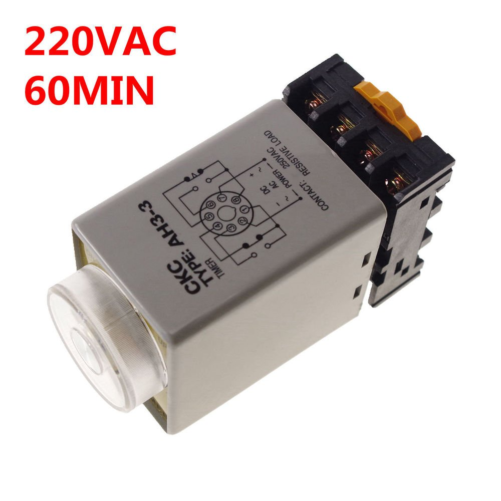 220VAC 0-60 min 3A Power On Delay AH3-3 Time Relay With Socket Base PF083A