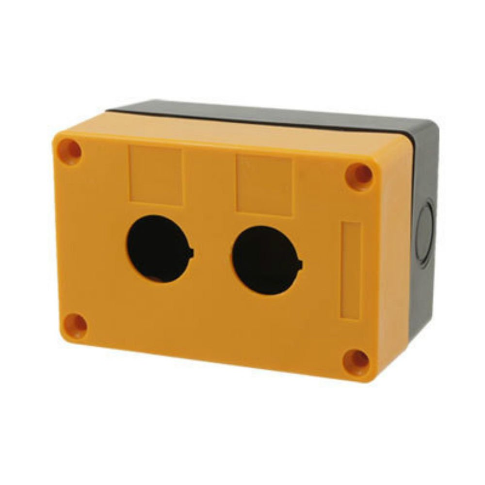 22mm Yellow Black  2 Hole Push Button Switch Station Control Plastic Box  Case