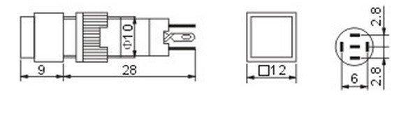 2PCS 10mm square Indicator pilot lamp latching pushbutton 1NO 1NC  SPDT