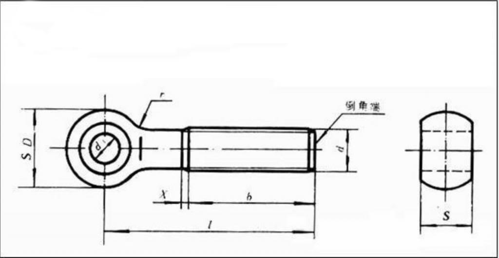 �10� Metric M8*60 mm 201 Stainless steel eyelet bolt