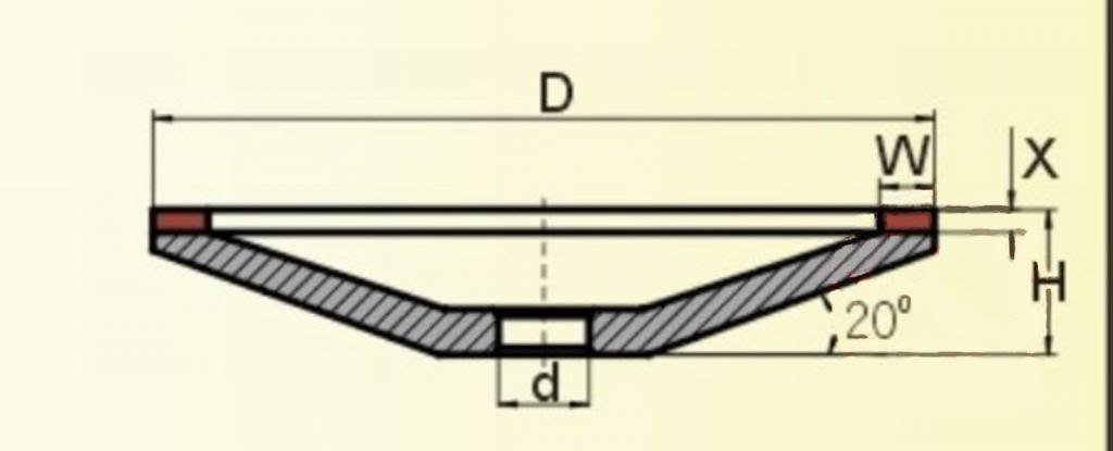(100)mm(OD) 20mm(ID) Hole Bowl Shape 200 Grit Diamondresin Resin Grinding Wheel