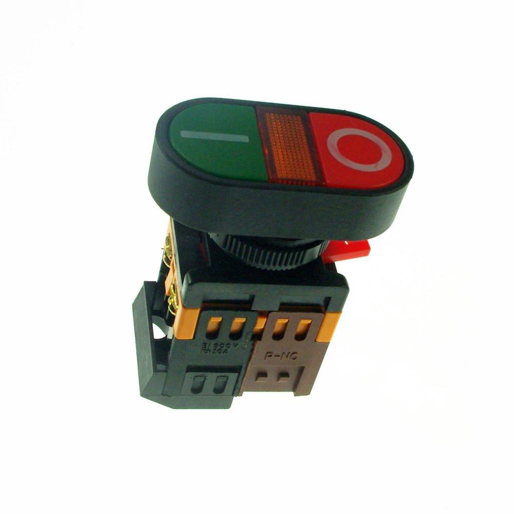 2PCS Start-Stop Double Pushbutton With LED Pilot Lamp  6V/12V/24V/110V/220V/380V