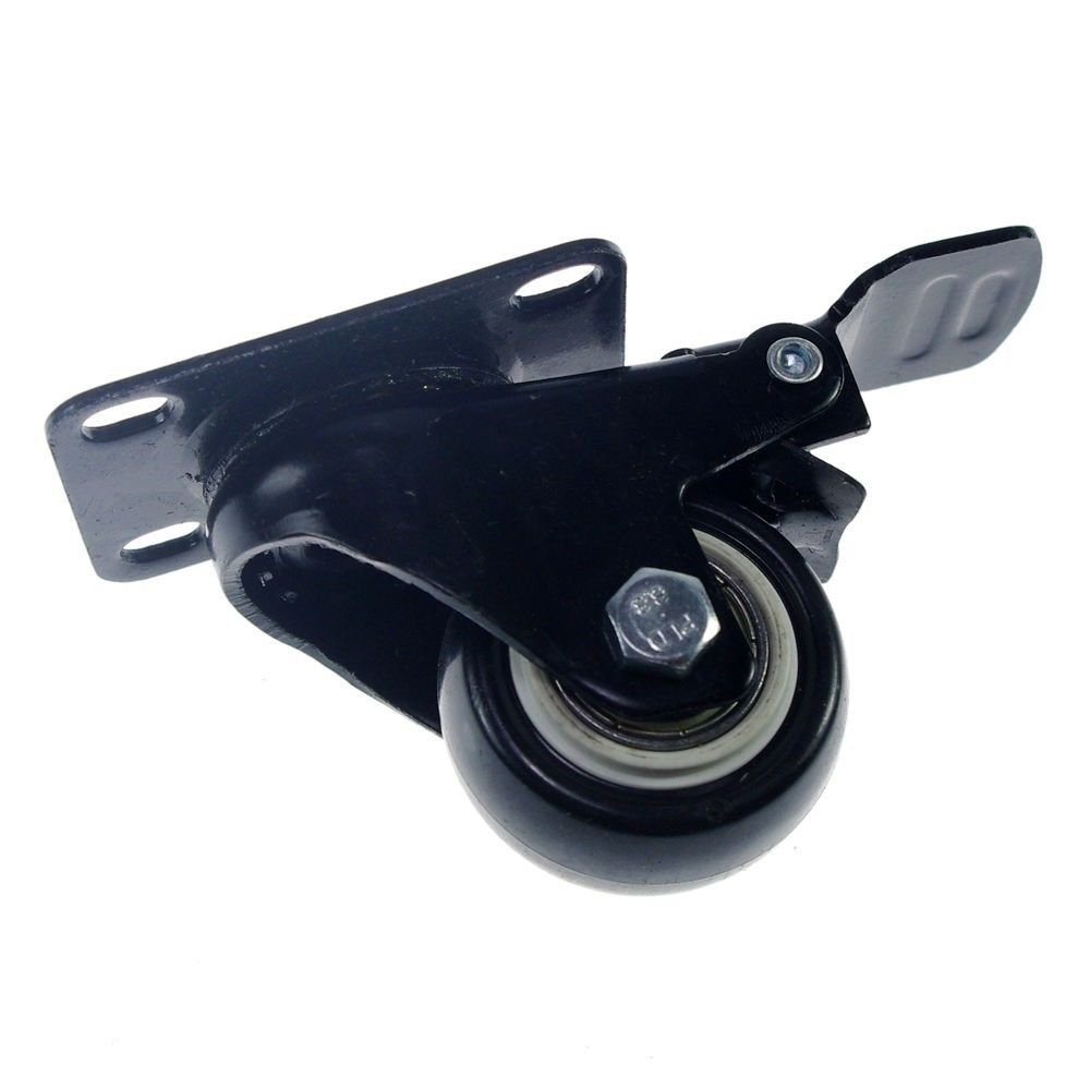 """2 PCS 1.5"""" PU Swivel Wheels  Plate Casters for Utility Carts silence 40KG"""