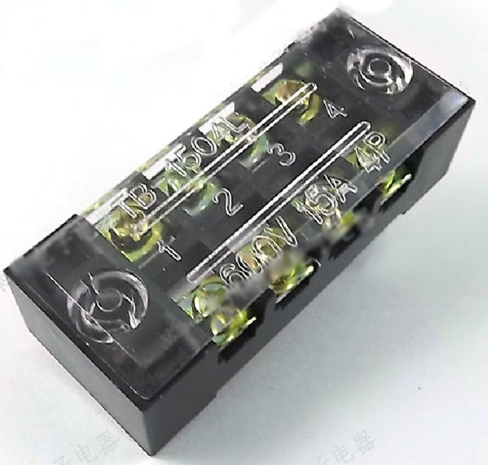 5 piece Dual Row 4 Position Covered Screw Terminal Block Strip Black 600V 15A