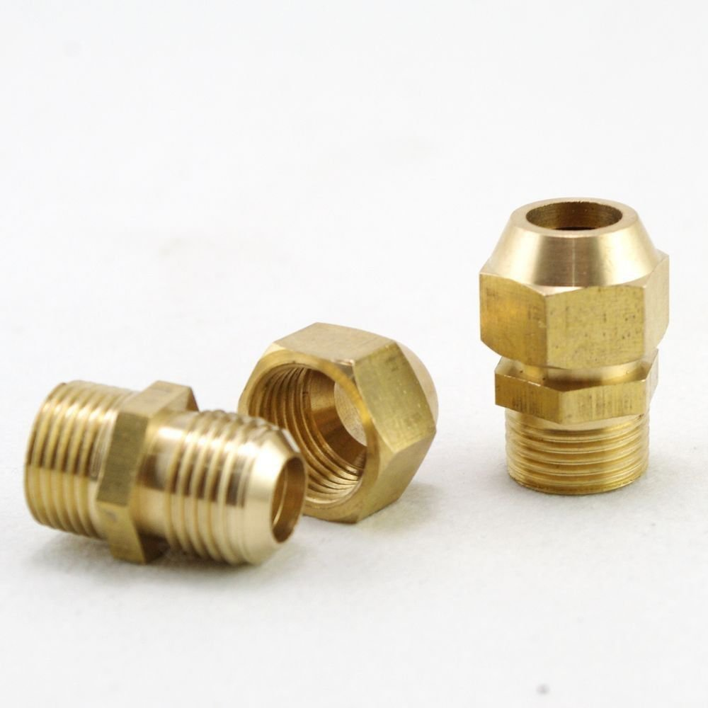 "5PCS 8mm Flare Tube x 3/8""Male Thread Pipe Brass Adapter With Nut Connector"