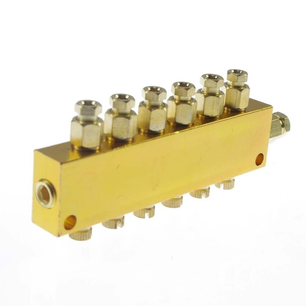 Brass 6 Ways Adjustable Oil Distributor Valve Manifold Block 6mm inlet 4mm out