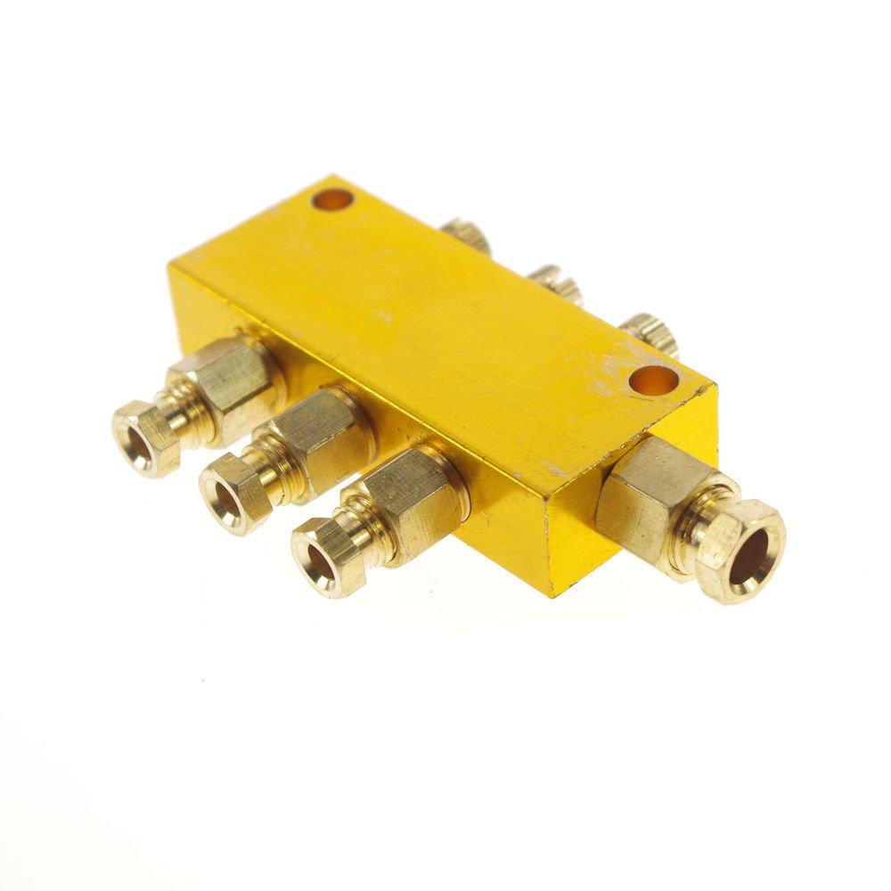 Brass 3 Ways Adjustable Oil Distributor Valve Manifold Block 6mm inlet 4mm out