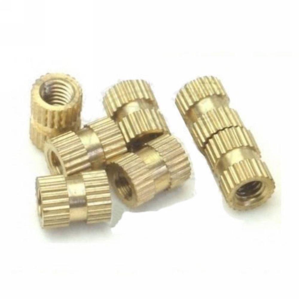 (100) Brass Knurl Nuts M3*8mm(L)-5mm(OD) Metric Threaded