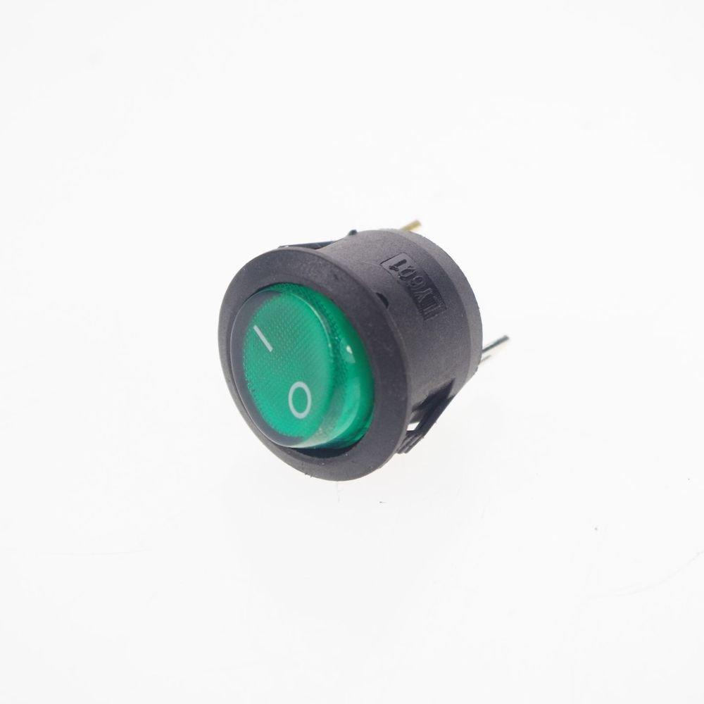 4PCS SPST On-Off Green Light Illuminated Round Rocker Switch 6A/250V 10A/125V