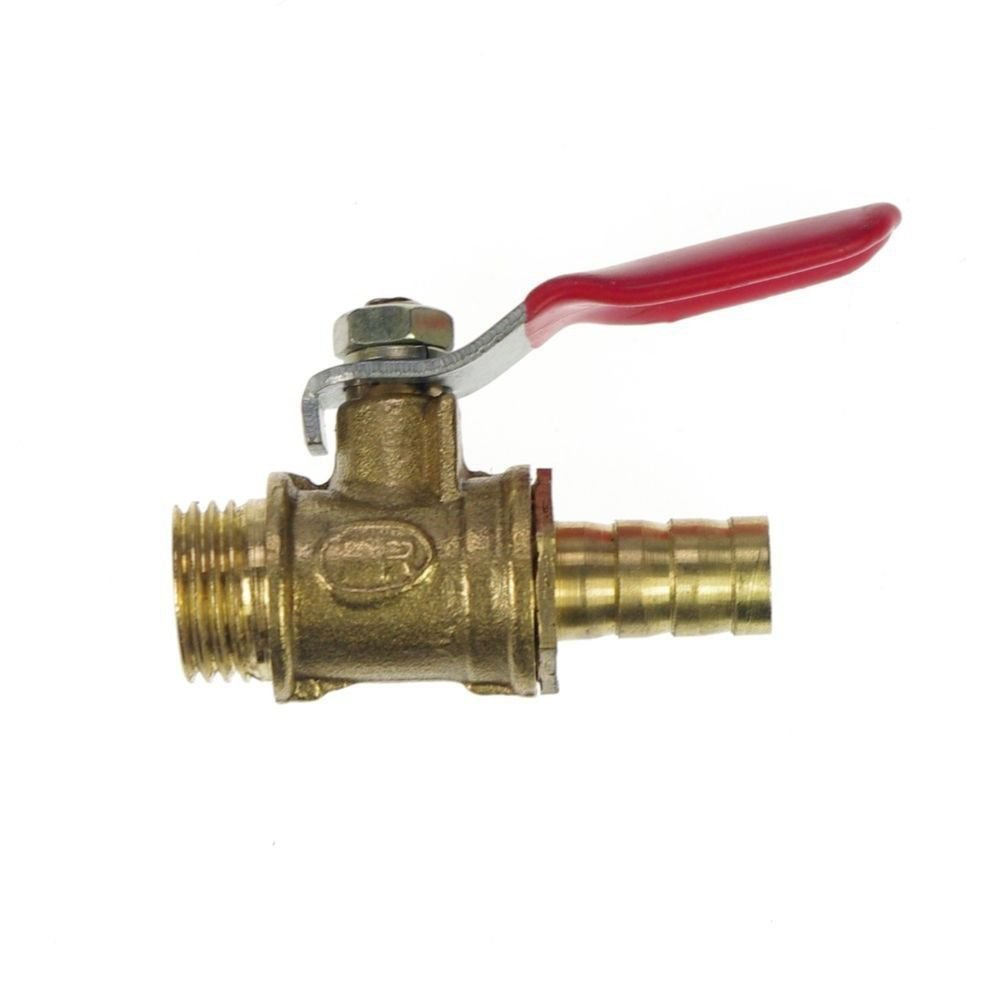"1/4"" BSPP Connection Male x 10mm Hose barbed Air Brass Pipe Ball Valve"