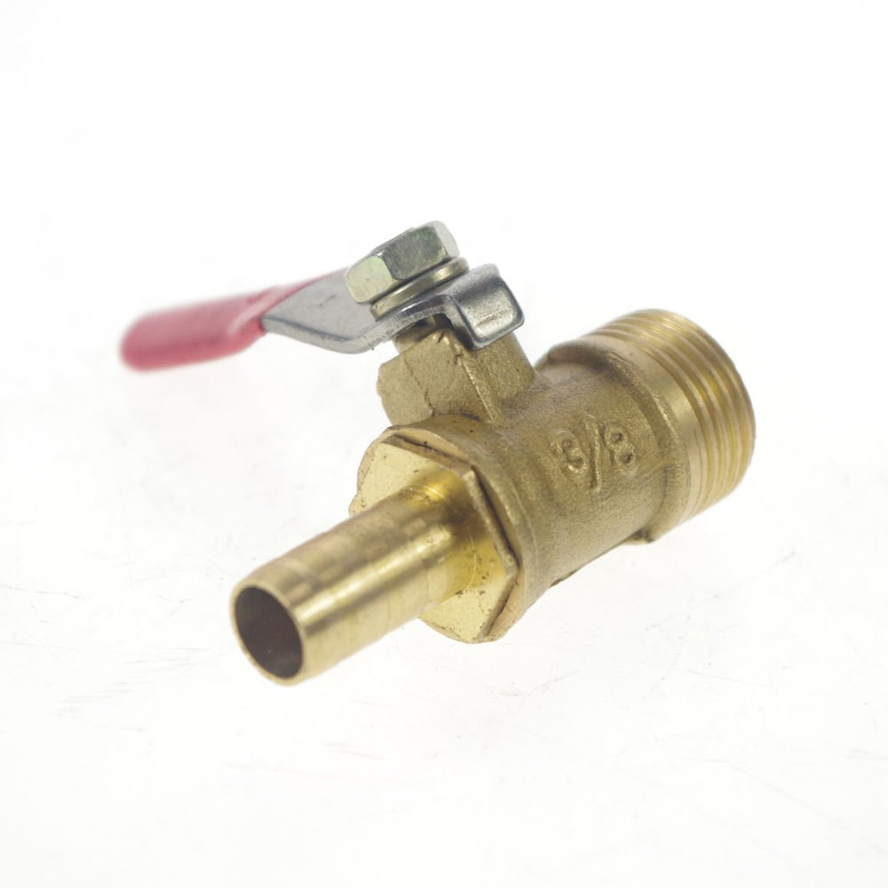 """3/8"""" BSPP Connection Male x 8mm Hose barbed Air Brass Pipe Ball Valve"""
