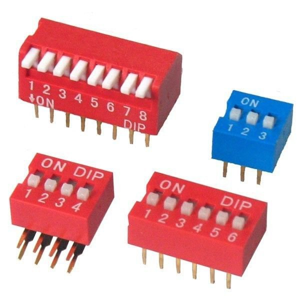 (20) DIP Switch 8 Positions 1.47mm Pitch Through Hole Silver Side Actuated Slide