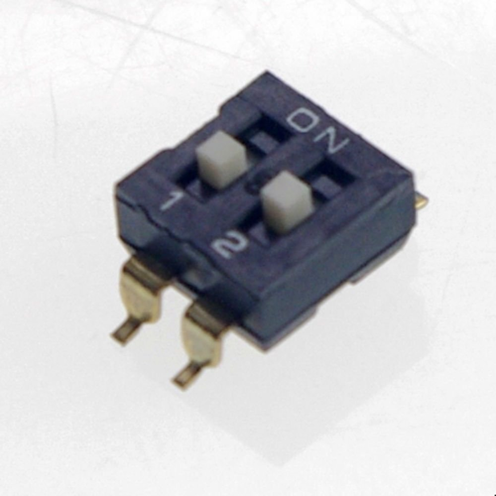 (20) DIP Switch 2 Positions 1.47mm Pitch Through Hole Silver Side Actuated Slide