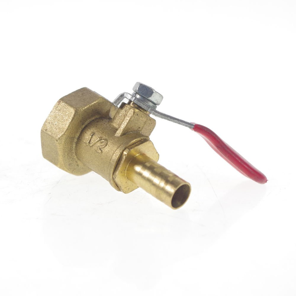 "1/2"" Female BSPP Connection x 8mm Hose barbed Air Brass Pipe Ball Valve"
