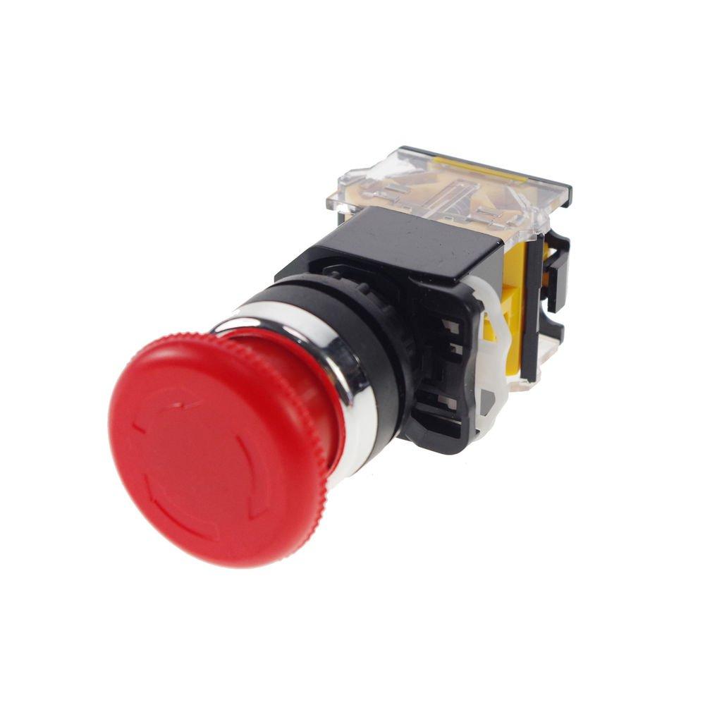 5PCS 10A CNC Motor Rotary Red Emergency Stop Mushroom Pushbutton Switch Freeship