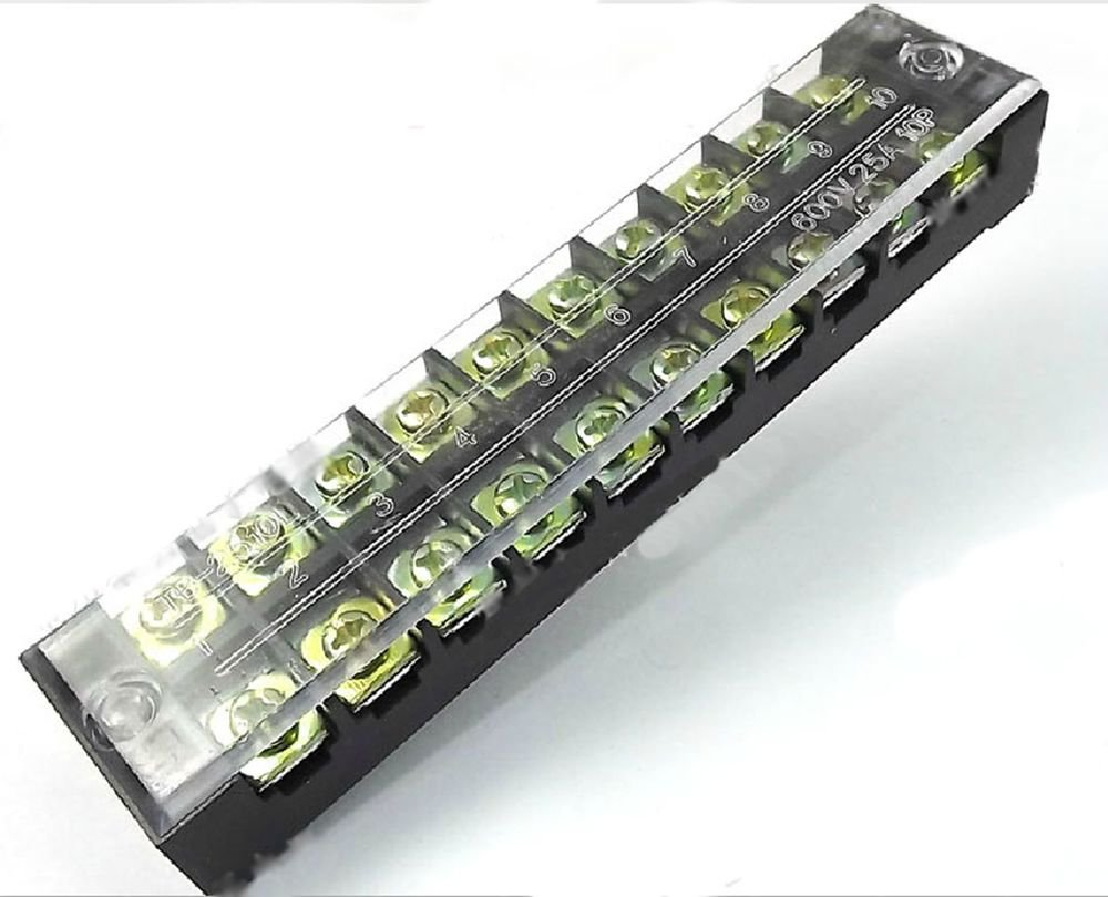Dual Row 10 Position Covered Screw Terminal Block Strip 600V 25A