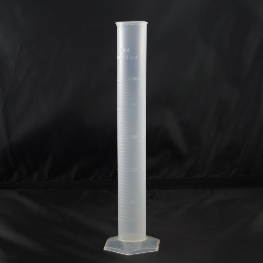 lot4 Graduated Cylinder Plastic 250ml Hex Base white scale