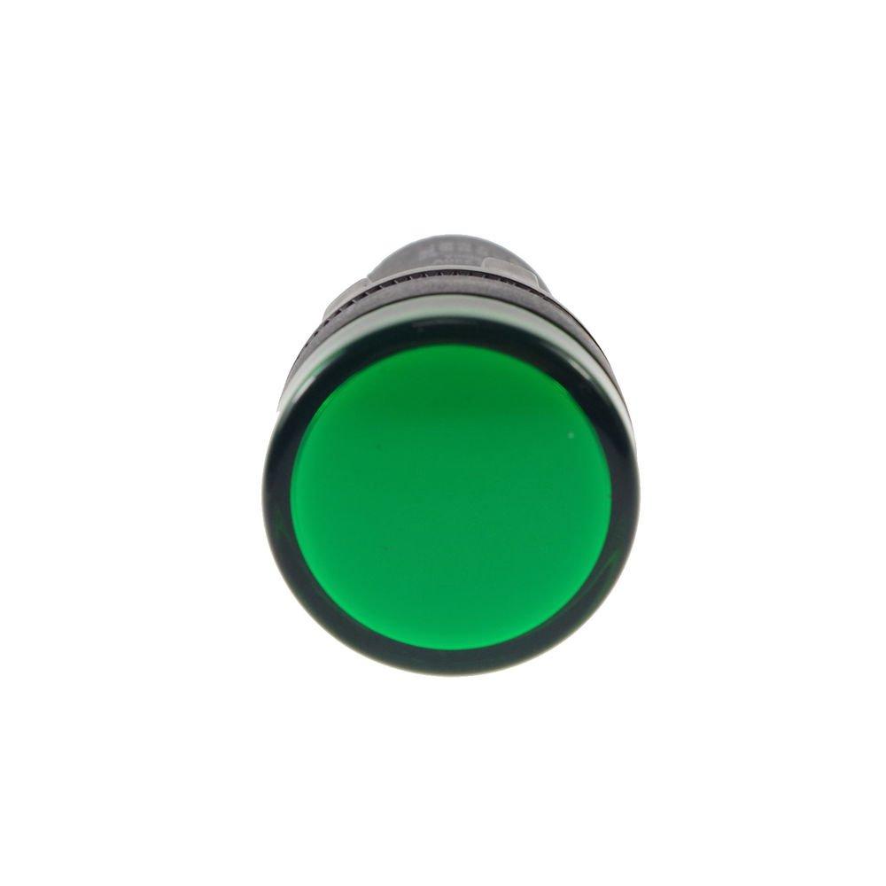 Green LED Power Indicator Signal Light 12VDC 50mm Height 22mm Diameter