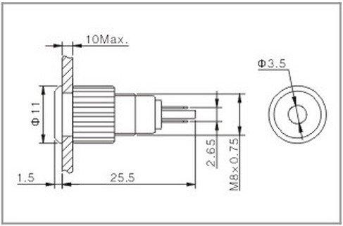 2PCS 8mm OD 6V Yellow  Metal Indicator LED Signal Light Water Proof IP67