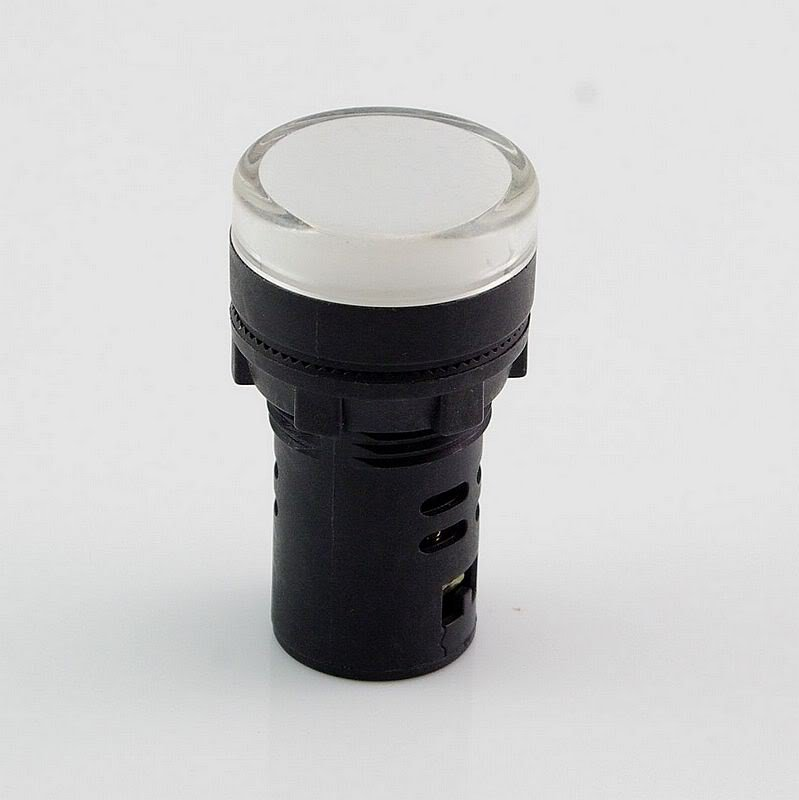 White LED Power Indicator Signal Light 12VDC 22mm Diameter  50mm Height