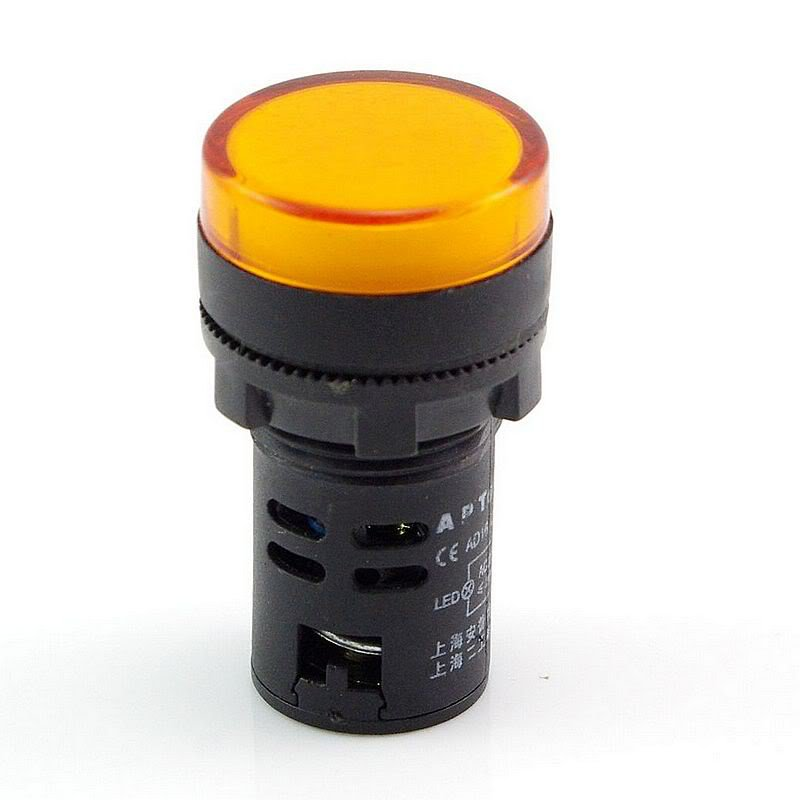 10 PCS Yellow LED Power Indicator Signal Light 12VDC 22mm Diameter  50mm Height