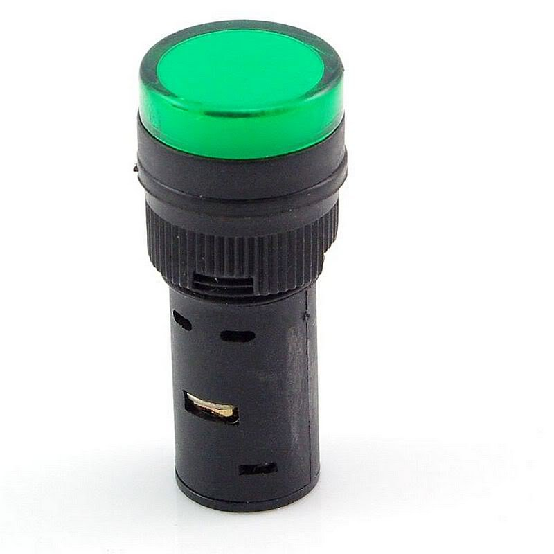 Green LED Power Indicator Signal Light 12VDC 16mm Diameter 45mm Height