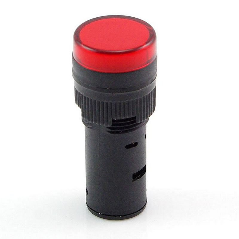 Red LED Power Indicator Signal Light 220VAC 16mm Diameter 45mm Height