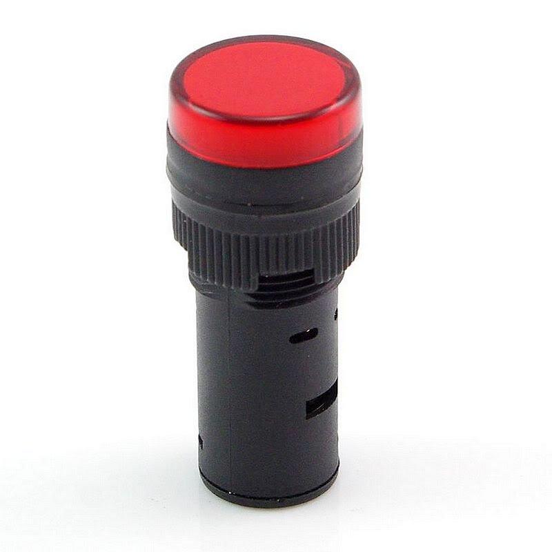 Red LED Power Indicator Signal Light 24VDC 16mm Diameter 45mm Height