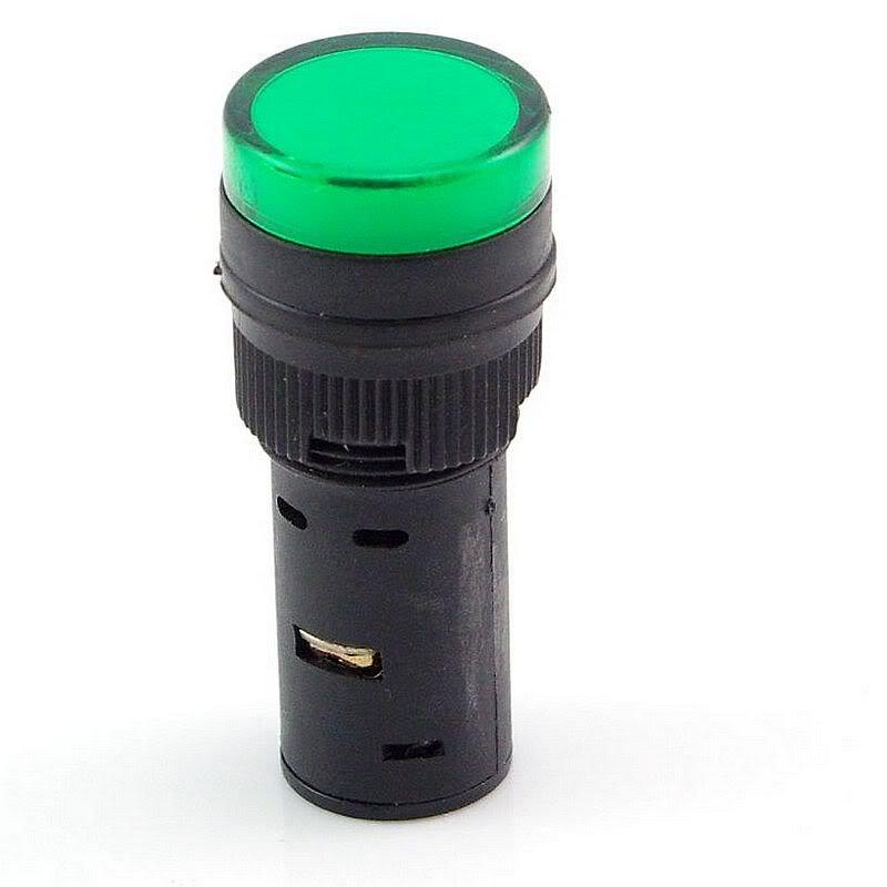 Green LED Power Indicator Signal Light 110VAC 16mm Diameter 45mm Height