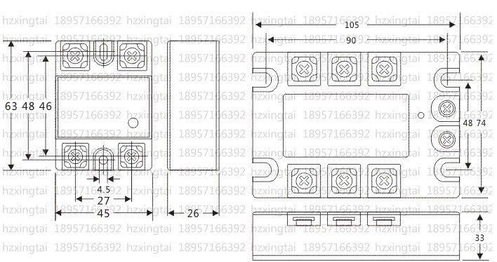 Solid State Relay SSR-60DA 60A 3-32VDC/24-380VAC