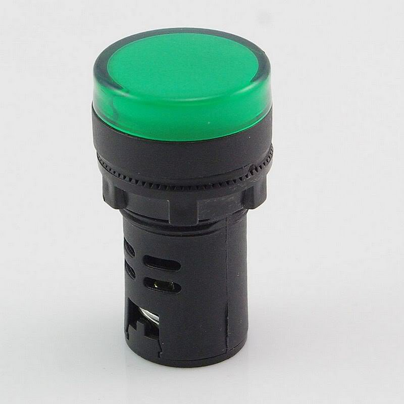 10 PCS Green LED Power Indicator Signal Light 220VAC 50mm Height 22mm Diameter