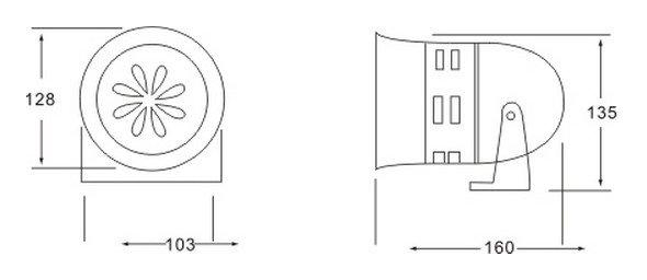 1PCS 110VAC  Gray MS-290 Mini Plastic Industrial Alarm Sound Motor Siren 130dB