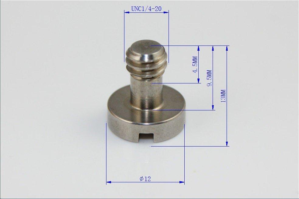 (10) 1/4' ' BSPT Tripod Camera Screw Stainless Steel Camera Flat-head Screw