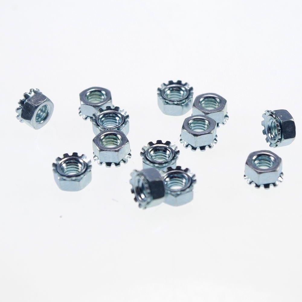 (100) Metric M5 Zinc Plated Steel Hex Keps K Lock External Tooth Lock Nuts