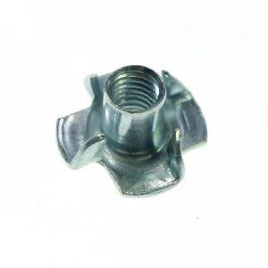 (25) Metric M12 Zinc Plated Steel T Nuts Blind Nuts 4 Prongs Knock In Wood