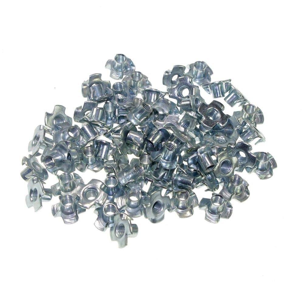 (100) Metric M4 Zinc Plated Steel T Nuts Blind Nuts 4 Prongs Knock In Wood