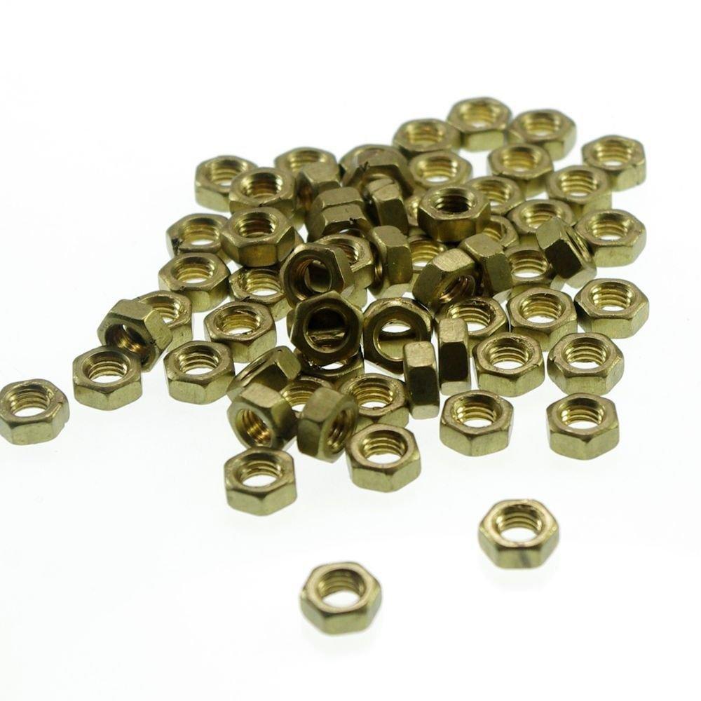 100pcs Metric Thread M3 x 0.5mm Pitch Brass Hex Nuts Freeship To Worldwide