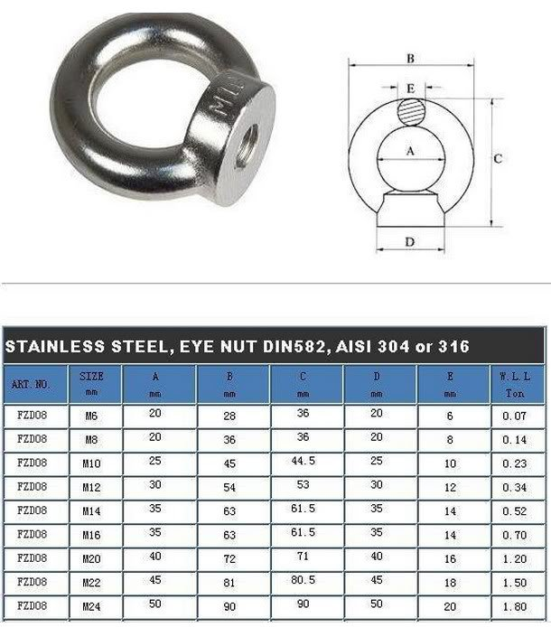 (1) M20 Metric Threaded Eyes Nuts 304 Stainless Steel Lifting New