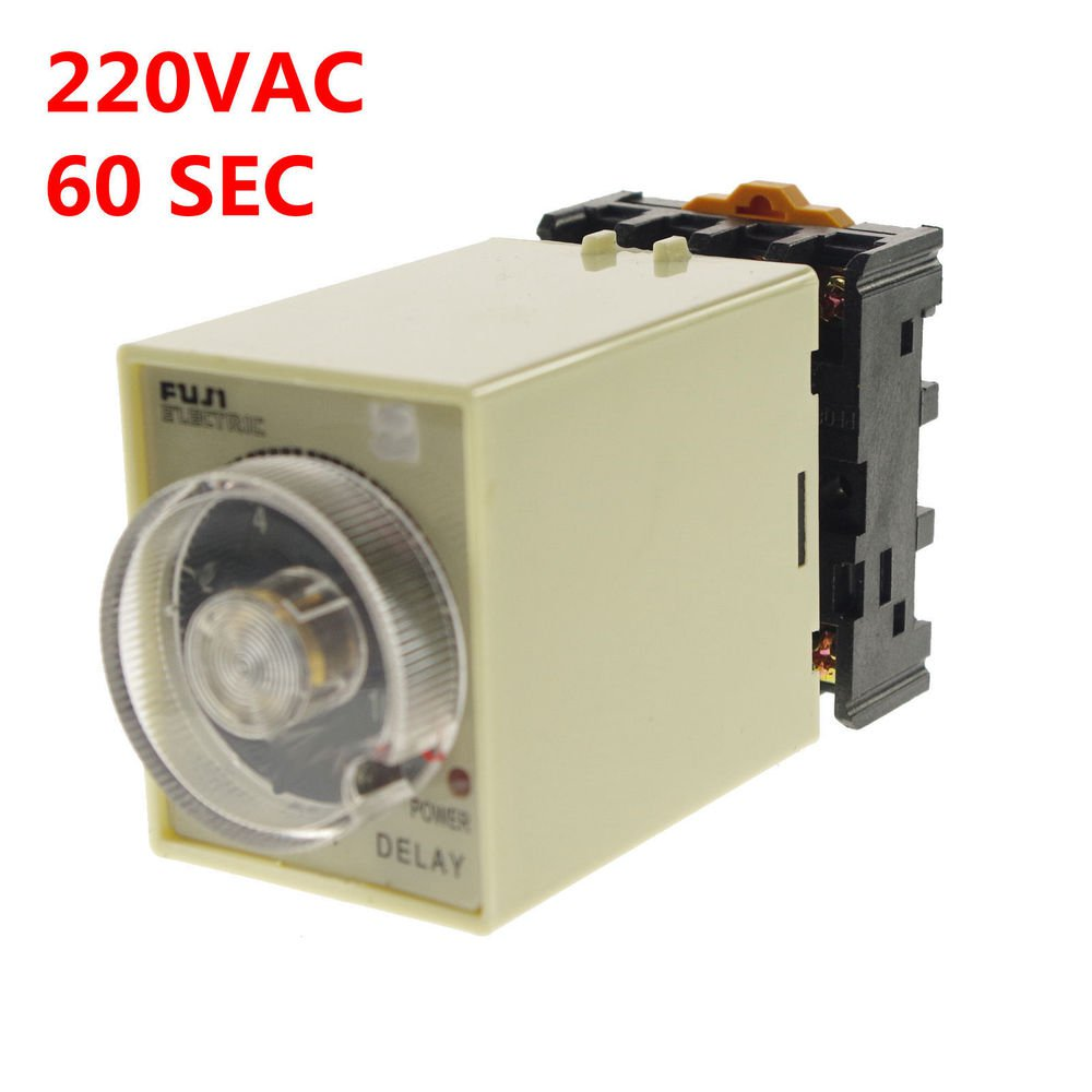 1PCS 220VAC Power off delay Time Timer Relay 0-60seconds With Socket Base PF083A