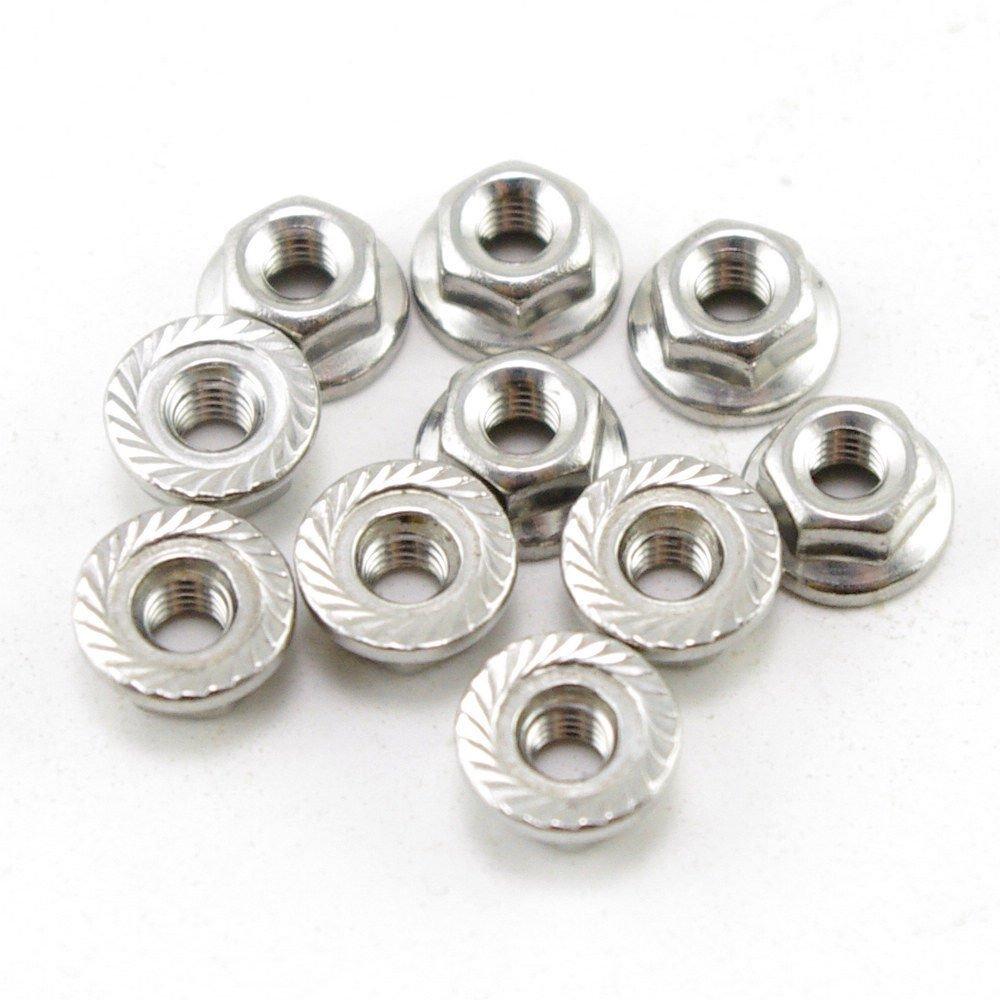 (50) Metric M4 304 Stainless Steel Hex Head Serrated Spinlock Flange Nuts