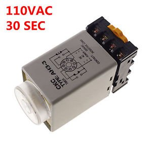 110V 0-30 sec Power On Delay AH3-3 Timer Relay With Socket Base PF083A 8PINS